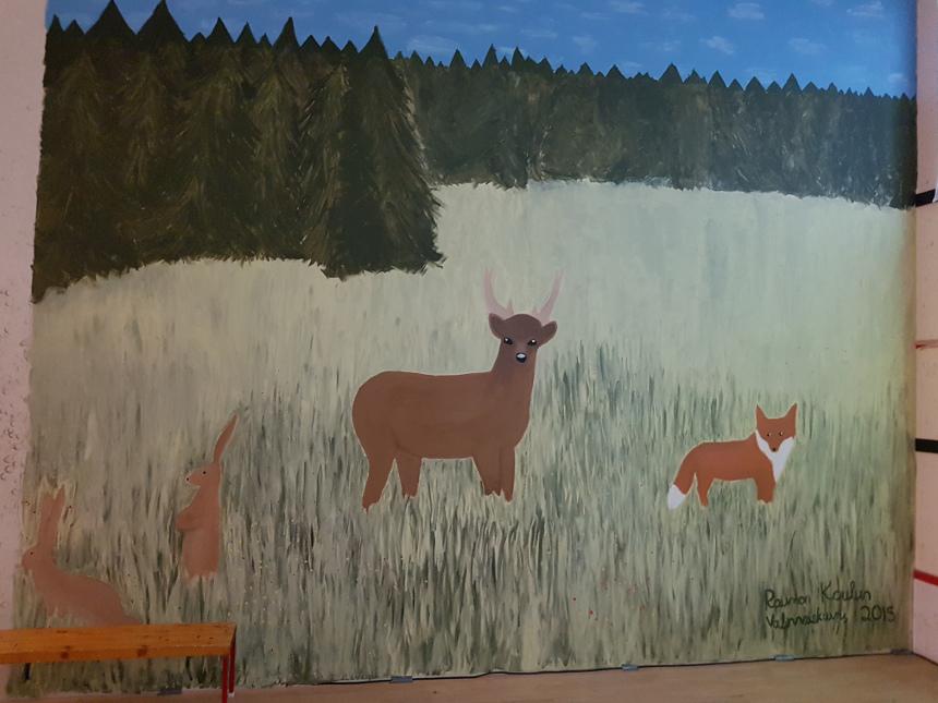 Kuvassa maalaus, jossa eläimiä niityllä